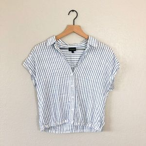 Who What Wear Tops - Who What Wear Blue n White Striped Crop Top